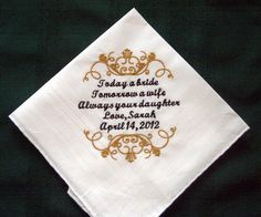 Personalized Wedding Handkerchief for Father of the Bride 126S with Gift Box. $25.00, via Etsy.