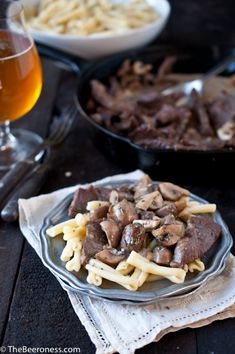 Mushroom Steak Pasta with Garlic Beer Cream Sauce. Sunday Supper fancy in 30 minutes.