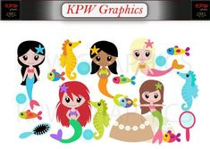 Mermaids Clip-art Set in a PNG format. Personal & Small Commercial use Mermaid Clipart, Clipart Images, School Projects, Clip Art, Social Media, Scrapbook, Invitations, This Or That Questions, Mermaids