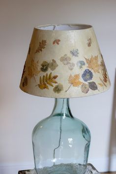 Pressed leaves and flower lampshade tutorial
