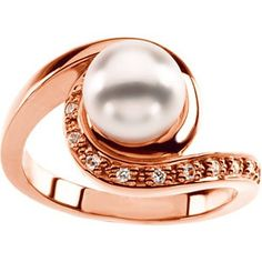 Rose Gold Pearl & Diamond Engagement Ring - #unusualengagementrings