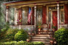 House - Porch - Belvidere NJ - A classic American home  Photograph