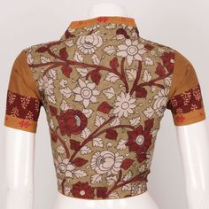 452a84f4193dd1 Buy Online Blouses Svasa Svasa Exclusives. Hand Crafted Kalamkari Cotton  Blouse With Collar Neck   Embroidered Mirror Work 10025130 - Size 40
