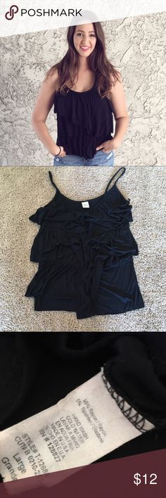 ▪️Black ruffle top▪️ Okay I wish I could post a video of me spinning around in this. This shirt has so much movement! The fabric feels actually like superb quality. This has been worn once and in great shape. True to size, and super flattering. Tops Tank Tops