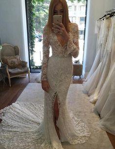 Sexy Deep V-Neck Long Sleeves Court Train Split Front Lace Mermaid Wedding Dress