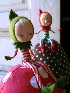 Forget the creepy elf on a shelf. I want to make a bunch of these as Christmas decorations.