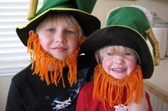 Create these great Leprechaun beards with pipe cleaner and orange yarn.