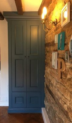 Traditional storage cabinet, painted in F&B Stiffkey Blue Fitted Bedroom Furniture, Fitted Bedrooms, Blue Furniture, Bespoke Furniture, Blue Bedrooms, Blue Fitted Wardrobes, Traditional Fitted Wardrobes, Stifkey Blue, Dorchester House