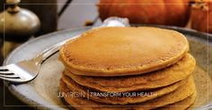 These light and fluffy gluten-free pancakes are full of incredible pumpkin spice flavor and healthy Paleo nutrition for the perfect fall breakfast!
