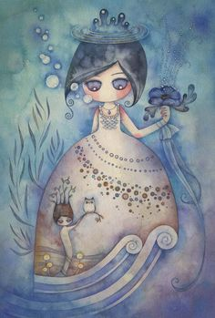 Kai Fine Art is an art website, shows painting and illustration works all over the world. Watercolor Girl, Watercolor Illustration, Watercolor Paintings, Illustration Artists, Chibi, Illustrations, Whimsical Art, Pretty Art, Love Art