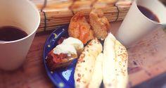 2014.8.5  mornning  /  朝の珈琲  サツマイモのタルト  ピーナッツパン  黒糖パン