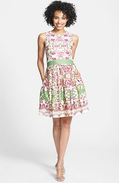 Taylor Dresses Floral Print Cotton Fit & Flare Dress available at #Nordstrom, $128