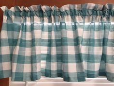 Teal and White Kitchen Valance  60 Inches Wide by CheriesSewCrafty