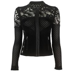 black *biker* jacket with crochet lace (Fashion Edgy Alternative) Dark Fashion, Gothic Fashion, Gothic Jackets, Black Biker Jacket, Gothic Outfits, Visual Kei, Mode Inspiration, Mens Clothing Styles, Look Cool