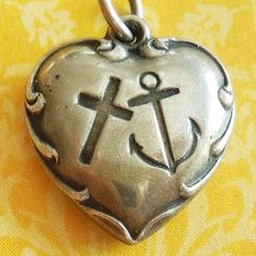 Vintage 1940's Faith Hope & Charity Puffy Heart Sterling Silver Rebus Charm ~ Engraved Margaret