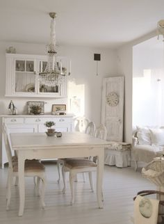 dining room white grey black chippy shabby chic whitewashed - Country Cottage Dining Room Ideas