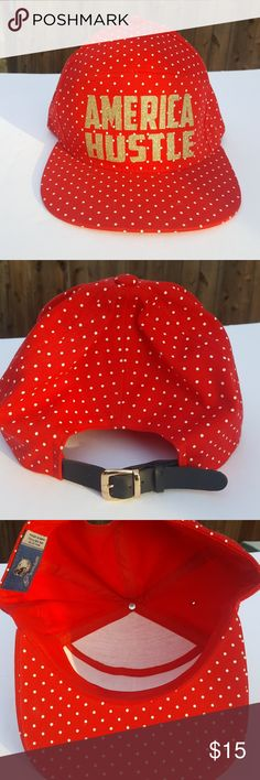 Bling Hat Red with white , gold bling letters. premium Accessories Hats