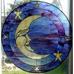 Stained Glass Blue Eyed Moon Round Window by twinsandra Stained Glass Suncatchers, Faux Stained Glass, Stained Glass Designs, Stained Glass Panels, Stained Glass Projects, Stained Glass Patterns, Leaded Glass, Mosaic Glass, Glass Wall Art
