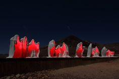 Albert Szukalski's The Last Supper installation at night