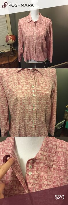 Christopher & Banks Pink Button Down Blouse Medium Excellent condition! Thank you for looking! Triple button sets, ruffled back, smooth and soft feel! Christopher & Banks Tops Button Down Shirts
