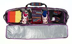 How to Pack Your Snowboard Bag: although I could pack for a snow trip in 10 minutes! Beach Volleyball, Snowboard Bag, Snowboard Equipment, How To Snowboard, Mountain Biking, Bag Illustration, Snow Gear, Animal Bag, Snowboarding Gear