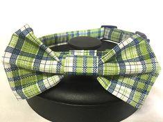 Dog collar bow tie dog collar plaid dog collar green dog