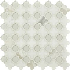 Triton Stone - Quadrefoil marble and white glass tile