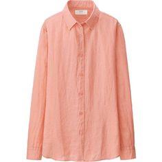 UNIQLO Premium Linen Long Sleeve Shirt (£20) ❤ liked on Polyvore