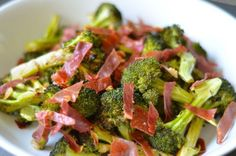 Roasted Broccoli With Crispy Prosciutto & Balsamic Vinegar Recipe Side Dishes with broccoli, prosciutto, kosher salt, ground black pepper, fat, aged balsamic vinegar