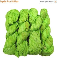 SALE New! Premium  Sari Silk  Ribbon yarn , 100g (50 yards) color Chlorophyl