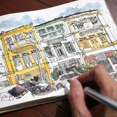 Sketching the shophouses at Bukit Pasoh, Singapore. There will be a tutorial of…