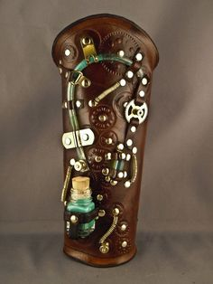 Steampunk leather bracer  Delirium  by IsilWorkShop on Etsy, $95.00