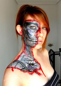 terminator girl face paint 500x707 Wtf / Il me faut un costume pour Halloween !