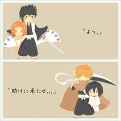 Like father like son. Isshin and Masaki, Ichigo and Rukia. Chibi A proof that Ichiruki will/might happen HAHAHAHAHA Shinigami, Ichigo Y Rukia, Bleach Rukia, Anime Manga, Anime Art, Bleach Couples, Bleach Manga, Cartoon Games, Manga Pictures