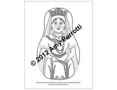 Alexandra Feodorovna Romanova Matryoshka Coloring by AmyPerrotti, $1.00