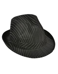 487b50f233f Roaring 20s Gangster Black Pin Strip Fedora Hat
