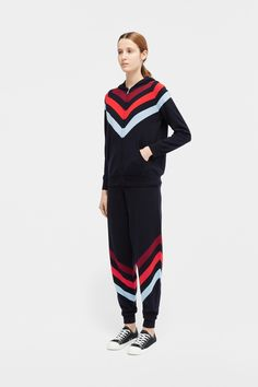 In cashmere, this navy hoodie is enlivened with vibrant chevron stripes across the body. It's crafted to a regular-fit shape with a drawstring hood and kangaroo pockets. Slouchy Cardigan, Core Collection, Tailored Trousers, Roll Neck, Fashion Books, Size Model, Cashmere Sweaters, Chevron, Harem Pants