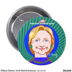 Hillary Clinton -2016 United States presidential 7.6cm 丸型バッジ