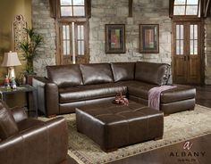Talsma Furniture Living Room Sectional with Chaise Lounge Albany 275 at Talsma Furniture - Talsma Furniture - Hudsonville, Holland, and Byron Center / Grand Rapids MI Brown Sectional, Sectional Sofa With Chaise, Leather Sectional Sofas, Reclining Sectional, Living Room Sectional, Living Room Furniture, Home Furniture, Furniture Design, Living Rooms