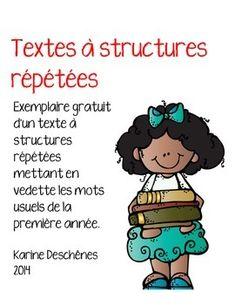 Lecture-texte à structures répétées-mots usuels Core French, French Class, French Teacher, Teaching French, French Resources, French Immersion, Daily 5, Literacy Centers, Teaching Reading