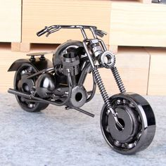 Silver Black Metal Motorcycle Model for Home and Office Decoration