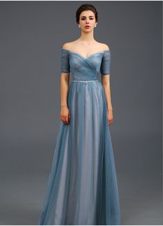 Light Blue Off the shoulder Evening Dress, A Line Formal Dress, Women Evening Party Gown, Event Dresses, missdress E005