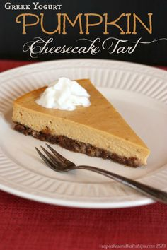 Greek Yogurt Pumpkin Cheesecake Tart with Maple Pecan Crust