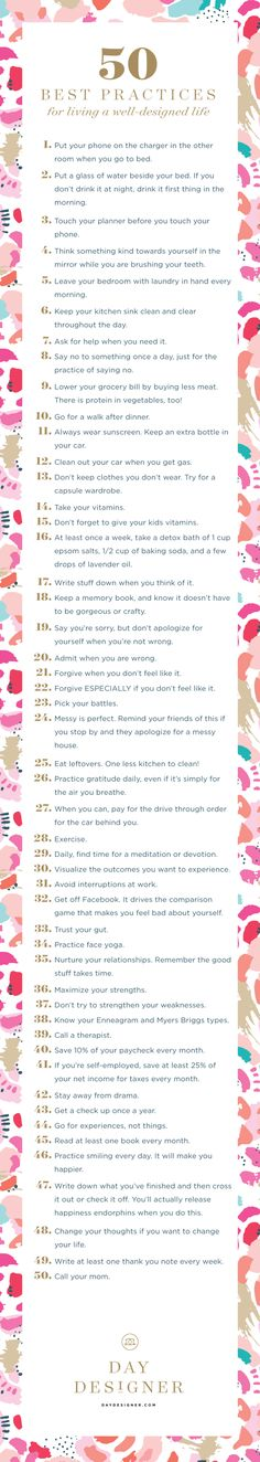 50 Best Practices for living a Well-Designed Life | Day Designer Life Goals List, Daily Goals, Daily Challenges, Life List, Daily Planners, Best Daily Planner, Best Planners 2017, Quotes For Planner, 2017 Goals Quotes