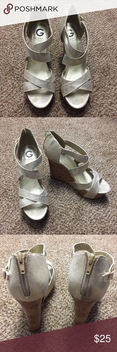 Guess Brushed Beige/Gold Wedges, Size 10 Women's Like new condition! Worn twice, size 10 women's, brushed beige/gold colors. Super cute wedges with Maxi dresses, shorts, short dresses (to elongate those legs!!)...honestly these go with ANYTHING!! Guess Shoes Wedges