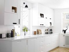 White Kitchen. Find out stone options for your White Kitchen project here> http://avalongranite.com/category/materials/