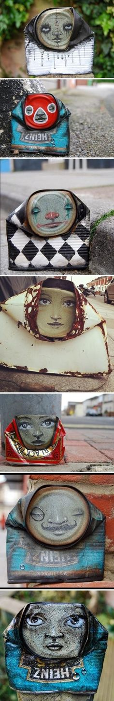 Creative beverage can designs with street art style.