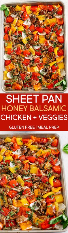 This Sheet Pan Honey Balsamic Chicken and Veggies makes the perfect weeknight dinner thats healthy delicious and easily made all on one pan in under 30 minutes! Perfect recipe for your Sunday meal prep too! Herb Chicken Recipes, Chicken And Vegetables, Veggies, Healthy Cooking, Healthy Eating, Cooking Recipes, Healthy Recipes, Healthy Food, Clean Eating