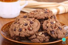 These chocolate cookies with the addition of walnuts make a perfectly healthy and delicious snack for your kids. Drop Cookies, Sugar Free Cookies, Sugar Free Desserts, Dessert Recipes, Chocolate Chip Walnut Cookies, Pecan Cookies, Sugar Free Chocolate, Chocolate Chocolate, Chocolate Pudding
