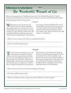 Inference In Literature - Reading Comprehension Activity with The Wonderful Wizard of Oz